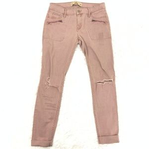 Hollister Super Skinny Distressed Pink Trousers 1